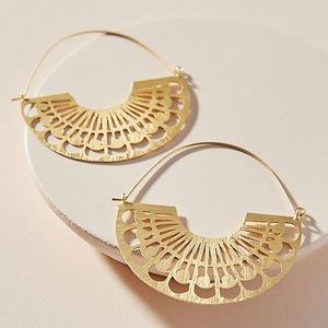 Anthropologie Lucy gold hoop earrings NWT